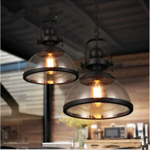 Loft Industrial Clear Glass Round Shade 1 Lamp Black Iron Chain Hanging Pendant