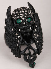 Wing skull W cross snake stretch ring women gift biker jewelry antique silver 2