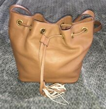 J.CREW Tan Brown Leather Drawstring Crossbody Purse Bag-NEW