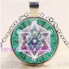 Cosmic sacred Geometry Cabochon Glass Tibet Silver Chain Pendant Necklace