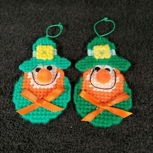 Handmade Pair of Plastic Canvas St. Patricks Day Leprechaun Ornaments
