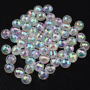200 CLEAR 'AB' RAINBOW LUSTRE FACETED ROUND ACRYLIC BEADS 6mm TOP QUALITY ACR97