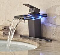 "Rozin LED Light Glass Spout Waterfall Bathroom Sink Faucet with 8"" Holes Cover"