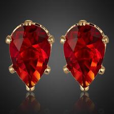 Xmas Women Lady Red Ruby Garnet Earings Yellow Gold Plated Stud Earrings Nr
