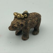 Vintage Figural Mini Brown Bear Fob Keychain Older Souvenir? Q3