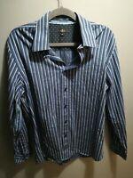 JEFF BANKS UK Size M Mens Lovely Black Striped Long Sleeve Shirt