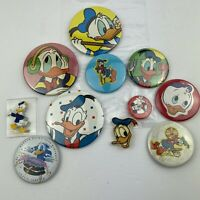 Lot of 10 Vintage Walt Disney Donald Duck Pins & Buttons 1 Mickey Mouse