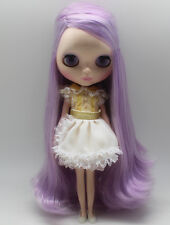 "12""Blythe nude Doll from factory long purple wave hair free shipping new limited"