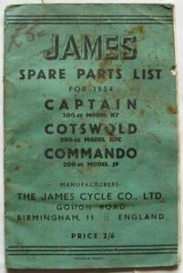JAMES Captain Cotswold Commando Illustrated Motorcycle Parts List 1954 #200/54