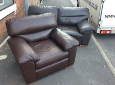 Marks And Spencers 3 Seater Sofa & Armchair , Brown Leather