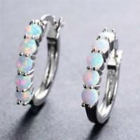 Women Rainbow Opal Inlaid Hoop Circle Ear Earring Wedding Engagement Jewelry LC