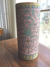Chinese signed  Pink famille Rose Hat Stand Vase