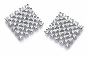 Sterling Silver Stud Earrings Clear Cubic Zirconia Stones Square Shape J JAZ