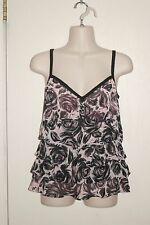 ANN TAYLOR ~ LOFT ~ Pink & Black Floral Layered Lined Blouse Sz 10 *VERY GOOD ++