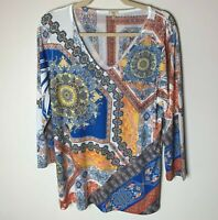 Reba Women's Top Size Medium V-Neck Bling 3/4 Sleeves Casual Blue Orange Yellow