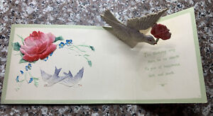 EARLY POP UP BIRTHDAY POST CARD WITH BIRD AND ROSE