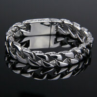 11mm Mens Chain Silver Tone 316L Stainless Steel Carved Curb Link Bracelet New