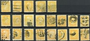 Canada #35 1c Small Queen, Variety of Shades & Fancy Cancels (21 stamps)