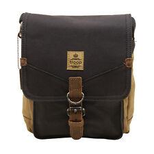 Troop London - Navy Blue & Camel Canvas Heritage Messenger Bag with Leather Trim