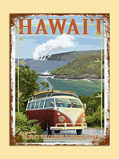 vintage retro style Hawaii travel VW poster image metal sign wall door plaque