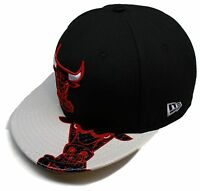 NBA® New Era® Chicago Bulls Dub Logo Black/Wht 9Fifty™ Snapback Hat Sz M/L