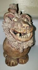 Vintage Wild Earth Pottery Funny Adorable Lion Cat Sculpture Figurine Stamped