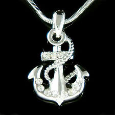 ANCHOR made with Swarovski Crystal YACHT CLUB Boat Nautical Beach Charm Necklace