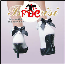 WHITE ANKLE POP SOCKS WITH RED PINK WHITE OR BLACK BOWS ST2100