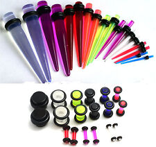 36pc UV Color Ear Stretching Kit set gauges tapers plugs 00g 2g 4g 6g 8g 10g 14g