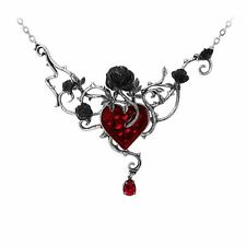 Alchemy Gothic Bed Of Blood Roses Thorn Pewter Crystal Large Pendant Necklace