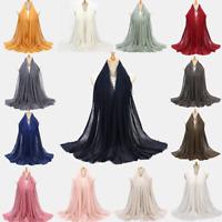 Women Cotton Islam Hijab Scarf Shawl Solid Muslim Long Shawl Stole Wrap Drilling
