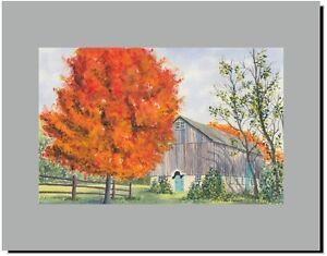 Barn in Tyler Park Bucks County Newtown PA, Original Watercolor Print 11x14