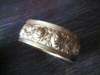 super edler Vintage Armreif gold Rosen Blüten Armspange vergoldet Tracht Dirndl