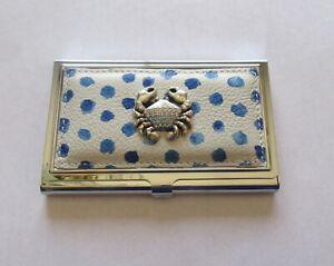 Brighton Bluewater Metal Card Case- blue white- metal crab crystals