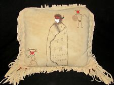 """VINTAGE NATIVE AMERICAN INDIAN LEATHER HIDE PILLOW 17"""" x 17"""" with FRINGE"""