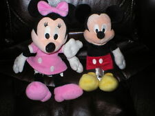 "Mickey & Minnie Mouse plush Disney  10"" and 9"""