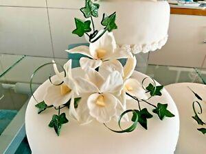 CELEBRATION CAKE TOPPER HAND MADE SUGAR CREAM OR WHITE ARTIFICIAL ORCHIDS    NEW