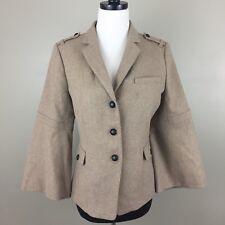 $168 Banana Republic Bell-Sleeve Lurex Flannel Military Jacket Size 10 Camel
