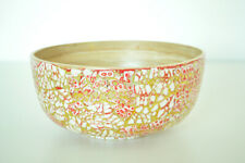 Handmade Decorative Bamboo Bowl Lacquered & Inlaid With Eggshell Pink-Gold H071L