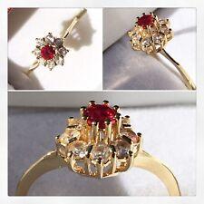 Vintage 14k Solid Yellow Gold Ring Red Topaz & Quartz Ring Antique Basket Design