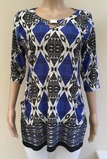 Wallis Black Blue Tunic Top Size M 12 - 14 Petite
