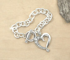 Heart Toggle Bracelet Silver Horse Western Jewellery Crystal Open