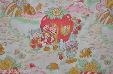 STRAWBERRY SHORTCAKE vintage FLAT BED SHEET 1980s SSC fabric