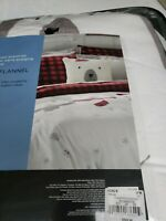 Cuddl Duds Polar Bears Twin Heavyweight Flannel Comforter Set - Gray Red Plaid