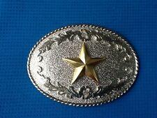 CHROME SILVER GOLD SHERIFF STAR COWBOY WILDWEST WESTERN FANCY DRESS BELT BUCKLE