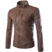 Men's Leather Jacket Outdoor Stand Collar Outwear Slim Fit Long sleeve Biker New