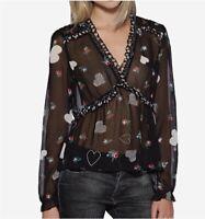 NWT Avec Les Filles Heart Boho Black Sheer Blouse Top Size Small