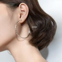 Große Creolen Struktur Rund 50 - 60 mm echt Silber 925 Damen Ohrringe Kreolen