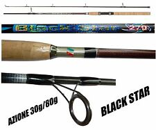 canna spinning black star 2.70mt lancio 30/80g carbonio pesca luccio barracuda