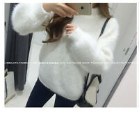 Womens Ladies Warm Winter Mink Cashmere Wool Loose Sweater Coat Fluffy Jumper